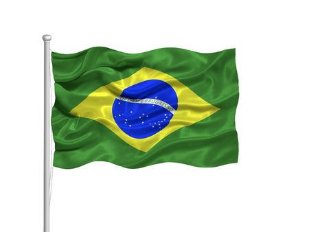 illustration of waving Brazlian Flag on white