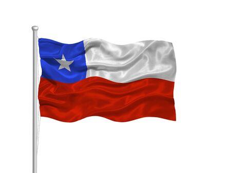 bandera chilena: Ilustraci�n de agitando la bandera chilena sobre blanco