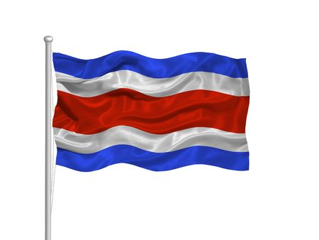 rican: illustration of waving Costa Rican Flag on white Stock Photo