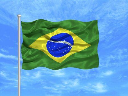 푸른 하늘에 브라질 국기를 흔들며의 그림 스톡 콘텐츠