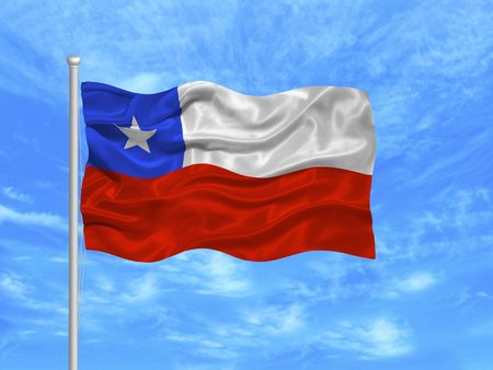 chilean: illustration of waving Chilean Flag on blue sky Stock Photo