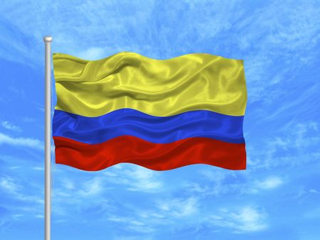colombian flag: illustration of waving Colombian Flag on blue sky Stock Photo