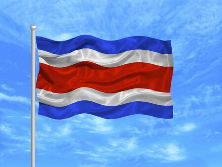 rican: illustration of waving Costa Rican Flag on blue sky