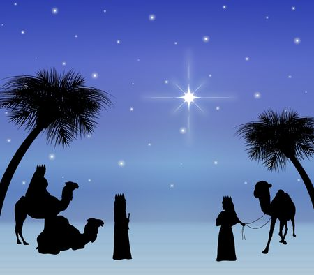 illustration of three wise men looking at star Stock Photo