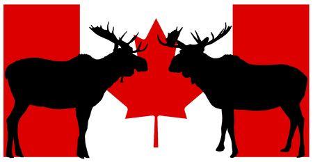 illustration of moose silhouette on Canadian flag background illustration