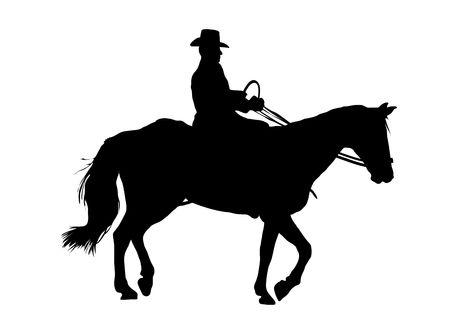 Illustration of cowboy riding horse on white background Stock Photo