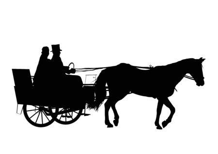 Illustration of bride on horse and carriage