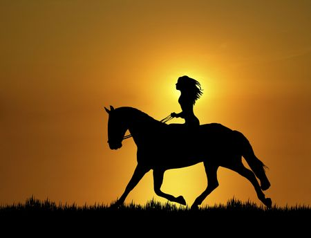 Illustration of woman riding horse at sunset illustration