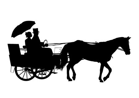 Illustration of couple on horse and carriage illustration