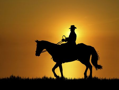 Illustration of man riding horse at sunset