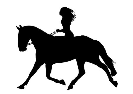 Illustration of woman riding horse on white background
