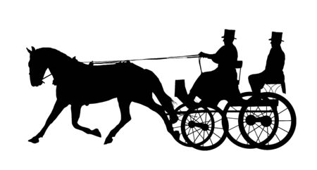 Illustration of man on horse and carriage illustration