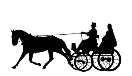 Illustration of bride on horse and carriage illustration