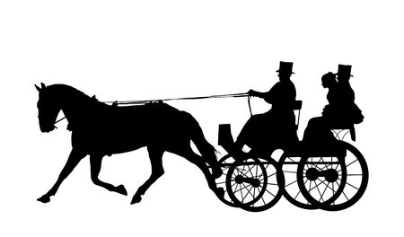horse carriage: Illustration of bride and groom on horse and carriage