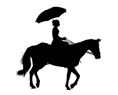 profile: Illustration of woman riding horse on white background