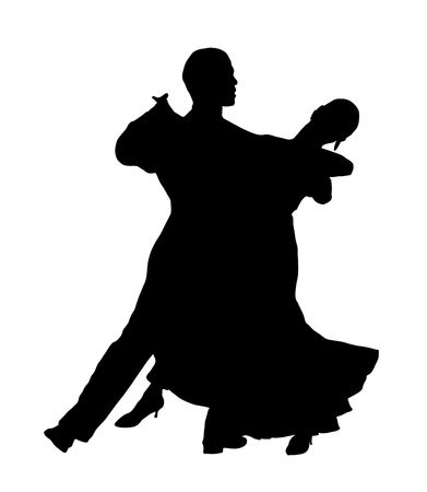 dancers: silhouette illustration of young couple ballroom dancing Stock Photo