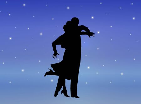 silhouette illustration of young couple ballroom dancing illustration