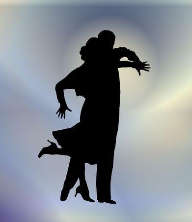 若いカップルの社交ダンスのシルエット イラスト