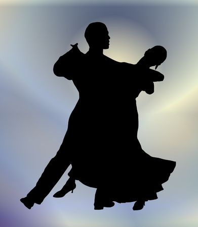 salsa dance: silhouette illustration of young couple ballroom dancing Stock Photo
