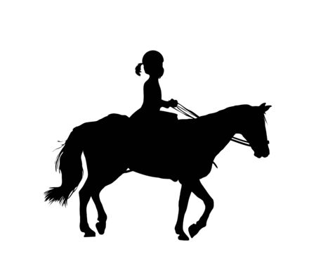Illustration of girl riding horse on white background