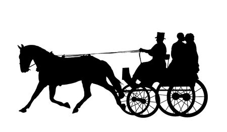 Illustration of bride and groom on horse and carriage