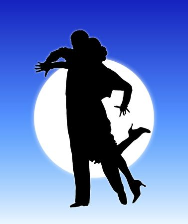 agility people: silhouette illustration of young couple ballroom dancing Stock Photo