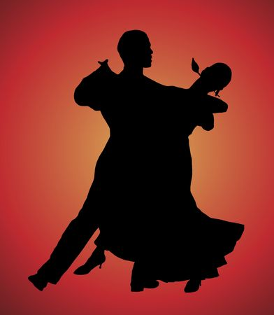 silhouette illustration of young couple ballroom dancing Фото со стока