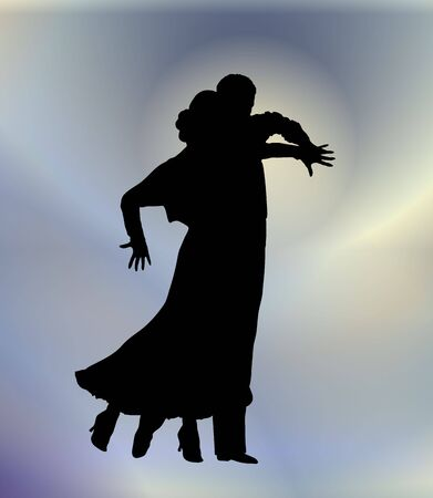 silhouette illustration of young couple ballroom dancing Stock Illustration - 3184447