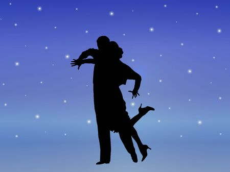 silhouette illustration of young couple ballroom dancing Stock Photo