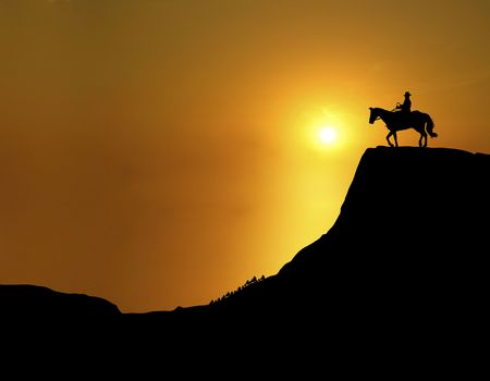 cowboy on horse: illustration of man and horse on mountain ridge at sunset
