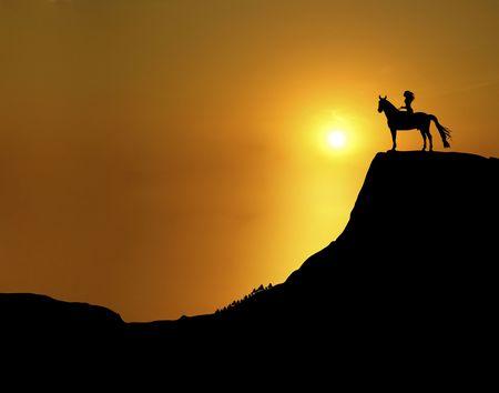 illustration of woman and horse on mountain ridge at sunset illustration