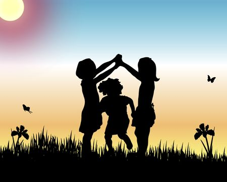 illustration silhouette of young children playing game Фото со стока