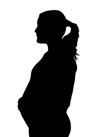illustration silhouette side profile of pregnant woman Stock Illustration - 3188091