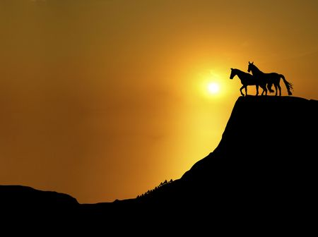 illustration of horses on mountain ridge at sunset Stock Photo