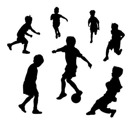 Illustratie van jonge kinderen spelen voet bal of voet bal