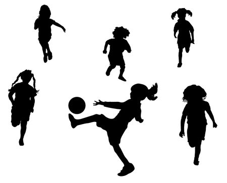 club soccer: Illustration of young children playing soccer or football
