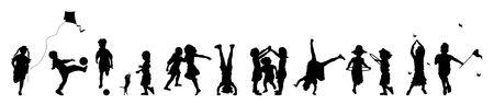 ni�os jugando en la escuela: banner ilustraci�n de los ni�os peque�os jugando