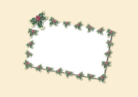 illustration of white card bordered by holly on ivory background Stock Illustration - 3212536