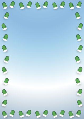 the mittens: ilustraci�n frontera verde de invierno mitones en fondo azul