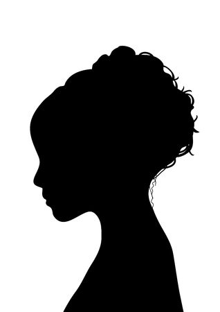 side silhouette profile of young woman with elegant hairstyle