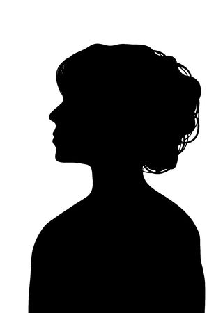 'head and shoulders': side silhouette profile of young woman with elegant hairstyle