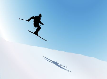 illustration silhouette of skier jumping over hill