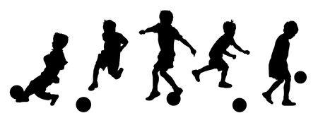 banni�re football: Illustration de jeunes enfants jouant au soccer ou de football