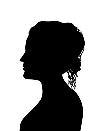 woman profile: side silhouette profile of young woman with elegant hairstyle