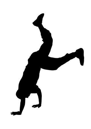 illustration silhouette of street dancer on white background Stock Illustration - 3380955