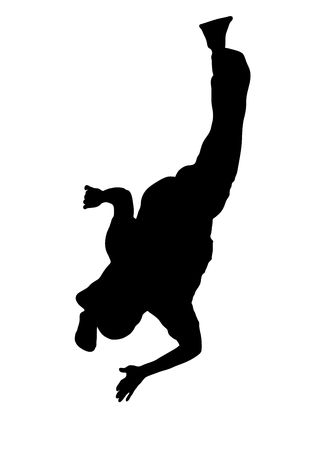 illustration silhouette of street dancer on white background Stock Illustration - 3380954