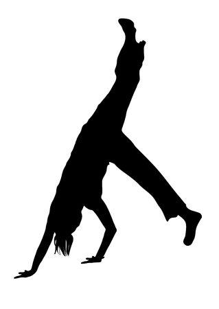 illustration silhouette of street dancer on white background Stock Illustration - 3380960