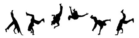 banner illustration silhouette of street dancers on white Stock Photo