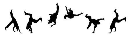 banner illustration silhouette of street dancers on white Stock Photo