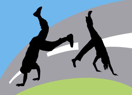 illustration silhouette of dance fight on coloured street background Stock Illustration - 3380962